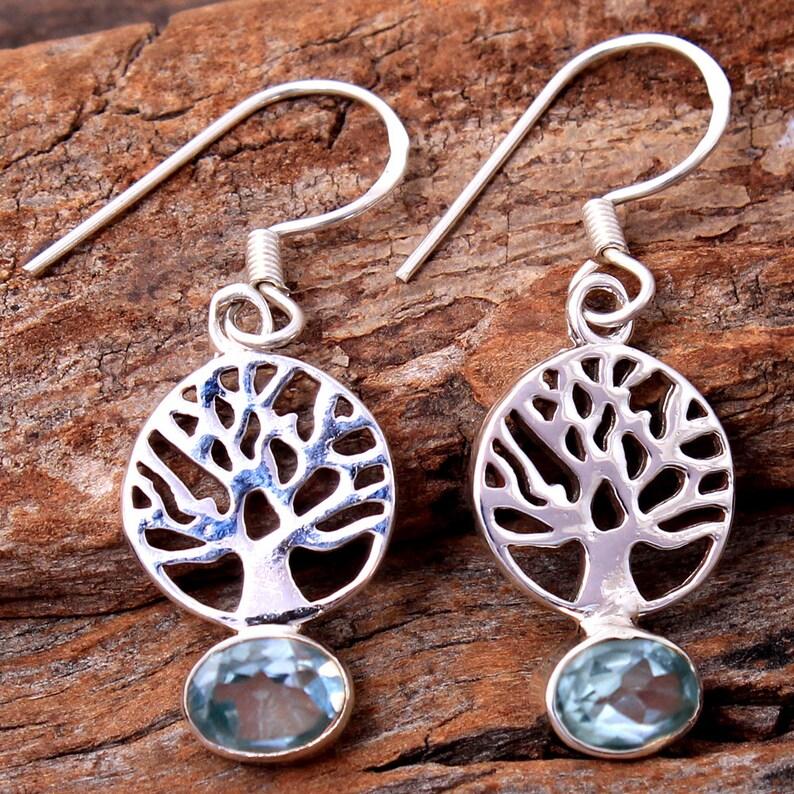925 Sterling Silver Handmade Designer Dangle Earring Jewelry Length 1.4 Faceted Blue Topaz Oval Gemstone Tree Of Life Earring sve4823
