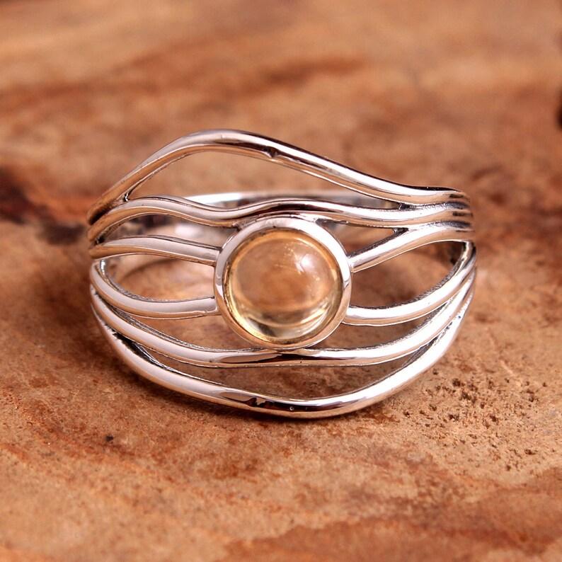 Natural Citrine Round Shape Gemstone Ring For Easter Sale 925 Sterling Silver Handmade Designer Ring Jewelry Size US 9.5 svr5550