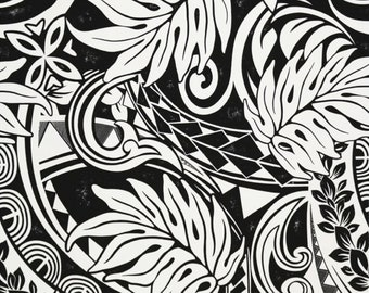 636e3554251d6 Fabric Samoan Puletasi Lavalava Fabric Polynesian Tattoo Monstera,  Off-White Black, for Island Fashion Hawaiian Shirts Wraps HPCN10799