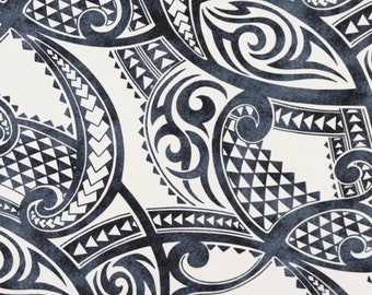 990755d0c7aac Fabric Maori Tribe Polynesian Tattoo Patterns Waves Spearhead, Shades of  Grays, for Island Clothing Apparel Home Decor Crafts HPCN10860
