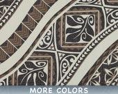 Tropical Polynesian Fabric Maori Tattoo Monstera Leaf Spearhead - Beige Brown - Cotton By The Yard HCN11360