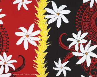 473d8ddff Fabric Tahitian Tiare Flowers Polynesian Tattoos Maile Leaf Lei, Gold White  Red Black, Island Fashion Beach Pareos Crafts HPCN10823