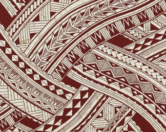 Fabric Hawaiian Tattoo Ribbons Triangles Spearheads Stripes Burgundy Maroon Red For Puletasi Dresses Apparel Home Decor Crafts HPCN10859