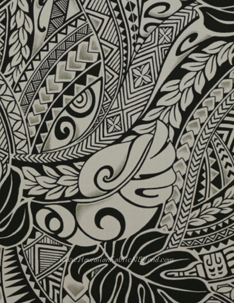 ecfed9cb7 Fabric Polynesian Tattoo Tapa Black and White Geometric