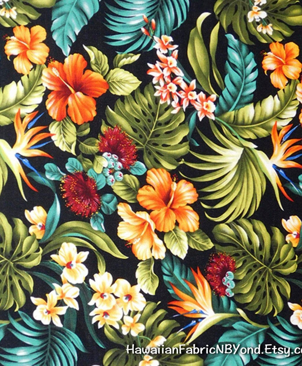 Flowers Made Black Brids: Barkcloth Tropical Floral Fabric Bird Of Paradise Red