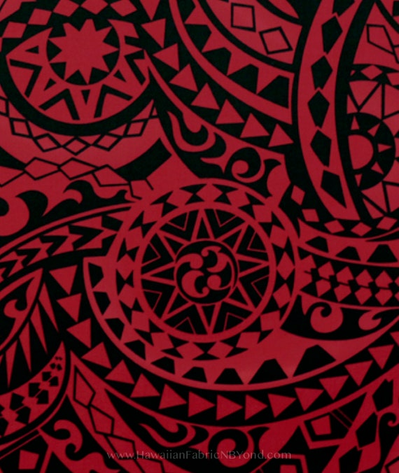 Fabric Polynesian Tattoo Symbols Sun Spearhead Shark Teeth Etsy