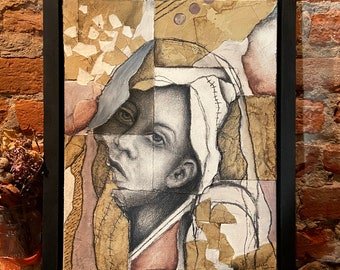 Tear in a Veil - original mixed media drawing, abstract portaiture, woman
