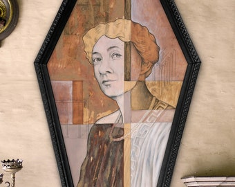 Mary Engle Pennington - archival giclée print of mixed media art in handmade coffin frame
