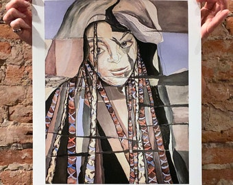 Z, limited edition print - portrait, abstract, mixed media