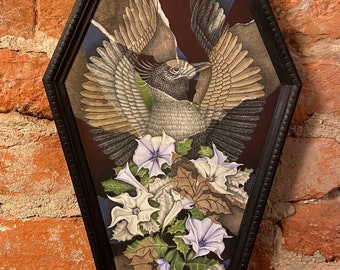 Phoenix and the Flower - mixed media crow print in handmade coffin frame