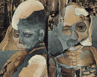Saints and Sinners, mixed media art by Jodi Cachia, macabre, skulls, print
