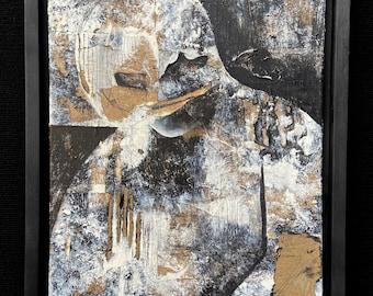 Black Mask - original mixed media art, abstract, textural, figure, dark, layered