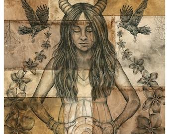 In Light of Darkness (Fall Equinox, Pagan, crow, art print)