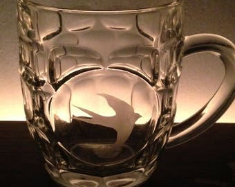 hand etched swallow half pint glass