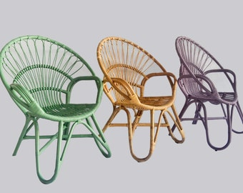 Rylie Round Rattan Chair In Mint Or Lilac
