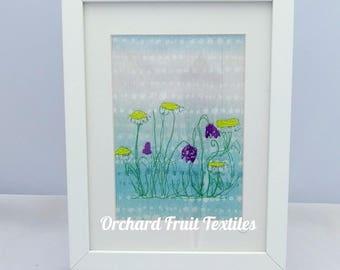 Original Textile Art - Framed Embroidery - Spring flowers