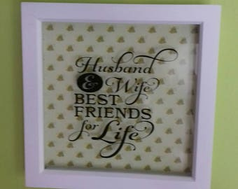 Husband And Wife, Best Friends For Life Vinyl Box Frame, Wedding Day Gift, Couples Gift, Anniversary Gift, Wedding Bells, Valentines Day