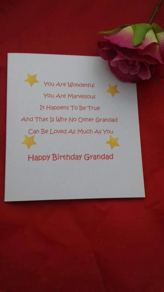 Opa Geburtstag Gedicht Karte Karte Von Den Enkeln Sterne Fur Etsy
