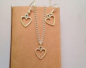 Heart Jewellery Gift Set, Heart Charms, Heart Dangle Earrings, Heart Pendant Chain, Gift Box Jewellery, Heart Fashion Accessories