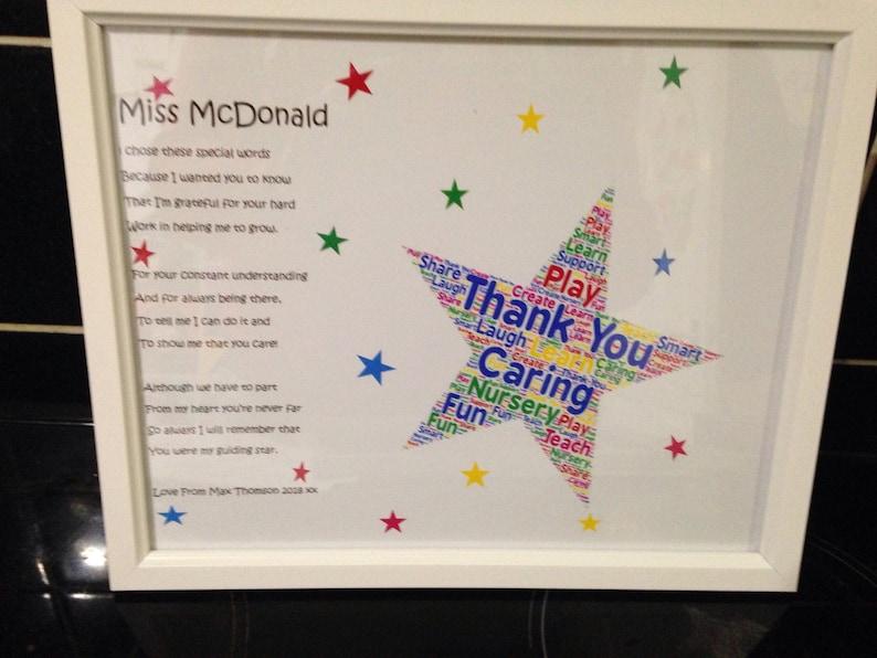 Danke Gedicht Geschenk Für Kindergärtnerin Lehrer Etsy