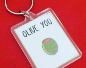 Olive You Keyring, Fun Pun Keyrings, Personalised Keychain, Valentines Day Fun, I Love You, Quirky Gift, Olive Juice Gifts