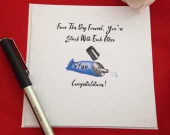 Congratulations Wedding Card, Funny Newly Wed Cards, Just Hitched, Man And Wife, Celebrations, Stuck Like Glue Card, Pun Cards