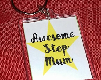 Awesome Step Mum Keyring, Step Mum Gifts, Key Chain For Her, Small Gift For Special Lady, Keepsake Gift, Step Mum Birthday, Mothers Day Gift