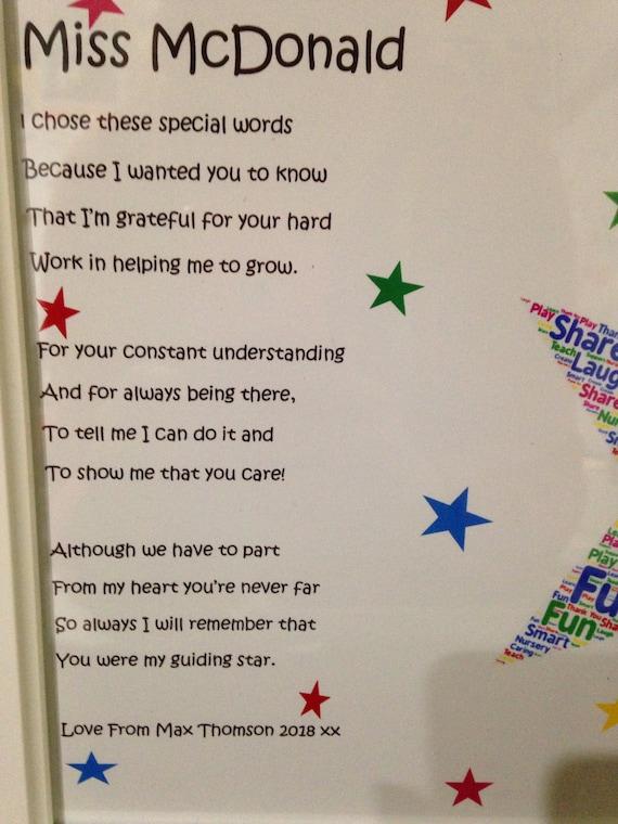 Thank You Poem Gift For Preschool Teacher Teachers Leaving ...