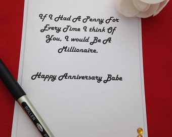 Anniversary Card, Handmade Cards, Cute Card For Partner, Always On My Mind, Thinking Of You Card, Love Card, For Her, For Him
