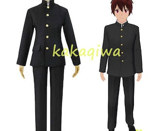 Japanese High School Uniforms Coaplay Boys Sets Chinese Tunic Suit Black Anime Cosplay Costume Jacket