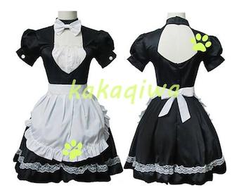 Anime Cosplay Costume Lolita Women Cute Black and White Maid Outfit Girl Dress Maid uniform Halloween Costume