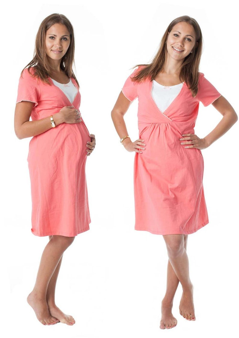 GoFuture\u00ae Maternity Nightgown Nursing nightgown 3in1 Normal leisure use nightgown JUNO breastfeeding function Soft Cotton Highest quality