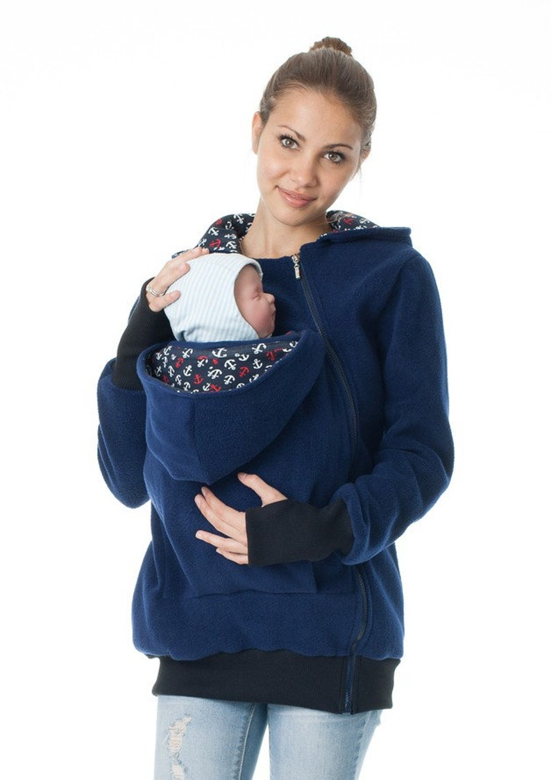 GoFuture \u00ae Babywearing jacket carrying carrier carry Kangaroo mum and baby hoodie fleece VIVA handmade GoFutureWithLove