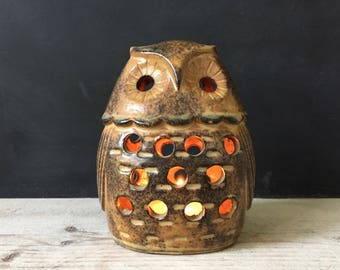 Halloween Owl Lantern, Vintage Owl Tea Light Candle Holder, Ceramic Owl