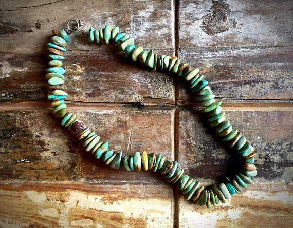 Turquoise Necklace, Chunky Genuine Turquoise, Vint