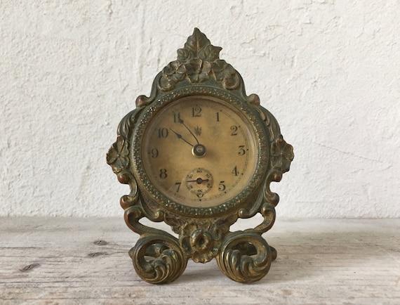 image 0 - Antique Waterbury Desk Clock Brass Wind Up Clock 1890 19th Etsy