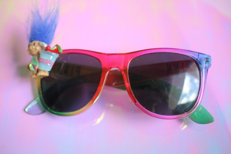 Troll sippin on juice upcycled handmade unique smiley face rainbow sunnies sunglasses