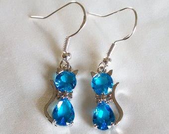 Cat Earrings - Crystal Cat Earrings - Ocean Blue Crystal Cat Earrings - Sterling Silver Hooks -