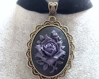 Necklace - Choker - Black Velvet Choker  - Rose Choker - Gothic Rose Choker - Victorian Necklace - Purple Red Cream Rose -