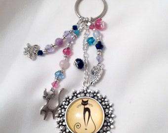 Key Chain - Cat Keyring  - Black Cat Key Ring - Whimsical Cat Key Chain - Cat Bag / Purse Charm - Whimsical Cat Accessories -