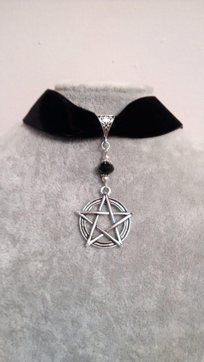 Black Choker - Pentagram Choker Velvet Choker Pentagram Choker Necklace