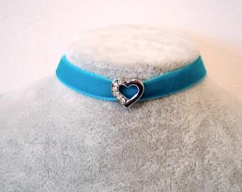Necklace - Choker - Heart Choker - Crystal Heart Choker Necklace - Heart Jewellery - Love Choker - Boho Hippie Choker