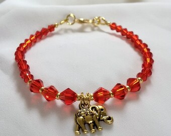 Elephant Bracelet - Red Crystal Elephant Bracelet - Elephant Charm Bracelet-