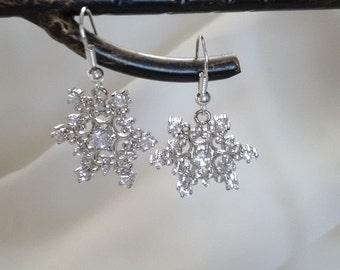 Earrings - Silver Earrings - Snowflake Earrings - Silver Snow Flake Earrings - Frozen Earrings -