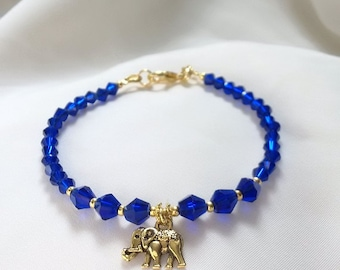 Elephant Bracelet - Cobalt Blue Crystal Elephant Bracelet - Elephant Charm Bracelet-