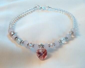Anklet - Moonstone Anklet - Rose Quartz Moonstone Anklet - Love Stone Anklet - Healing Bracelet - Love Anklet - Heart Anklet -