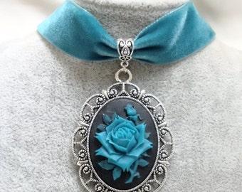 Gothic Choker - Gothic RoseRed Velvet Choker Necklace - Cameo Rose Choker -
