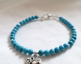 Bracelet - Elephant Bracelet - Turquoise Bracelet with Elephant Charm - Boho Bracelet - Blue Bracelet -