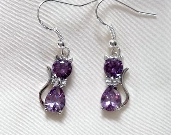Cat Earrings - Crystal Cat Earrings - Amethyst Crystal Cat Earrings - Sterling Silver Hooks - Available in many other colours