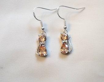 Cat Earrings - Crystal Cat Earrings - Champagne Crystal Cat Earrings -